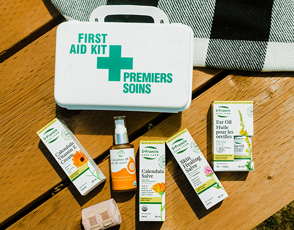 Herbal First Aid Kit with topical creams and oils from St Francis Herb Farm