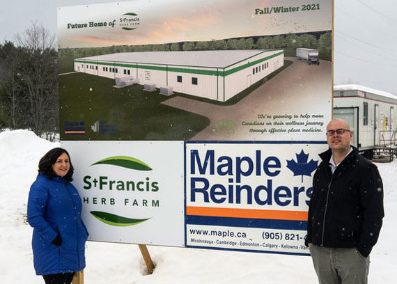 Paul & Caitlin Rivett-Carnac at the site of the new St Francis Herb Farm facility